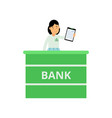 professional banking worker standing behind vector image