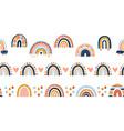 scandinavian rainbow seamless borders cute vector image vector image