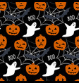 seamless pattern with - pumpkin ghost spider web vector image