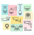 security camera line icon set flat design vector image