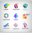 set abstract logos geometric origami vector image vector image