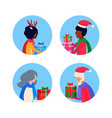 set mix race different age people holding gift box vector image vector image