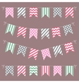set multicolored flat buntings garlands vector image