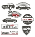 set of vintage car symbols Car service and vector image