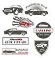 set vintage car symbols car service and vector image vector image