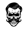 skull with moustaches design element for poster t vector image