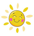 smiling sun character with face and rays vector image