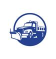 Snow Plow Truck Circle Retro vector image vector image