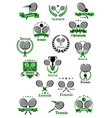 Tennis emblems with balls rackets and trophy vector image vector image