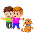 two boys with pet dog vector image vector image