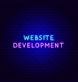 website development neon text vector image vector image
