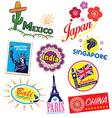 World country travel landmark icon set vector image vector image