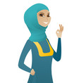 young muslim business woman showing ok sign vector image vector image
