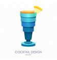 3D cocktail blue hawaii design vector image