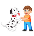 a man shake hands with dalmatian dogs vector image vector image