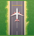 airplane on road landing travel vector image vector image