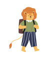 animalistic childish character or lion cub going vector image vector image