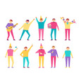 birthday party set people having fun celebrate vector image vector image