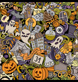 cartoon cute doodles hand drawn halloween seamless vector image vector image