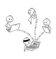 cartoon of hacker stealing data hacking computer vector image vector image