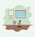 classroom with ethnicity students sitting reading vector image vector image