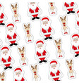 colorful background with sticker pattern of santa vector image vector image