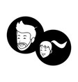 couple smiling faces black and white vector image vector image