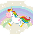 cute magic unicorn cartoon mascot character vector image