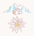 edelweiss chalet hut cabin mountains symbol vector image