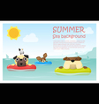 Enjoy tropical summer holiday with little dog 2 vector image