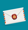 envelope icon with wax seal and lock vector image