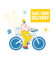 female character riding bicycle delivering food to vector image
