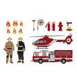 firefighters and fire fighting equipment vector image vector image