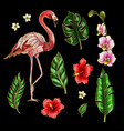 flamingo and flowers embroidery patches vector image vector image