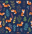 foxes with branches seamless pattern vector image vector image