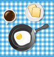 Fried egg with toasts and coffee vector image