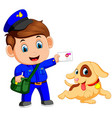 friendly postman with bag and cute dog vector image
