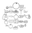 gastronomic hobby icons set outline style vector image vector image