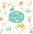 happy easter template with easter bunnie vector image vector image