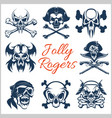 Jolly roger symbols - set on white vector image