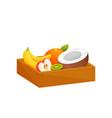 juicy colorful fruit in wooden rectangular box vector image vector image