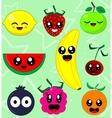 Kawaii smiling fruits vector image vector image