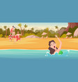 kids on beach summer vacation background vector image