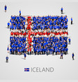 large group of people in the shape of iceland flag vector image vector image