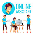 online assistant asian woman user support vector image vector image