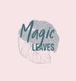 palm leaves logo with lettering vector image
