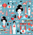 pattern with various elements japanese vector image vector image