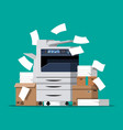 pile of paper documents and printer vector image vector image