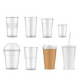 plastic and paper cups mugs takeaway drinks vector image vector image