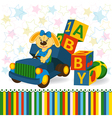rabbit on truck unload baby blocks vector image vector image